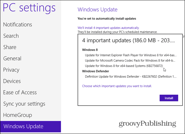 Manual Windows Update Windows 8
