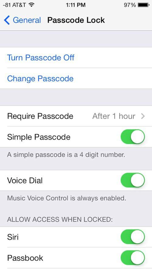 how to set up or turn off passcode lock in ios 7. Black Bedroom Furniture Sets. Home Design Ideas