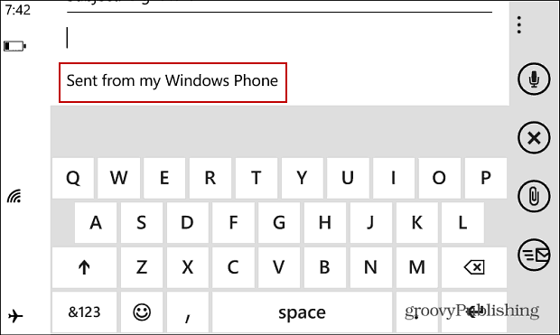 Windows Phone Email Signature