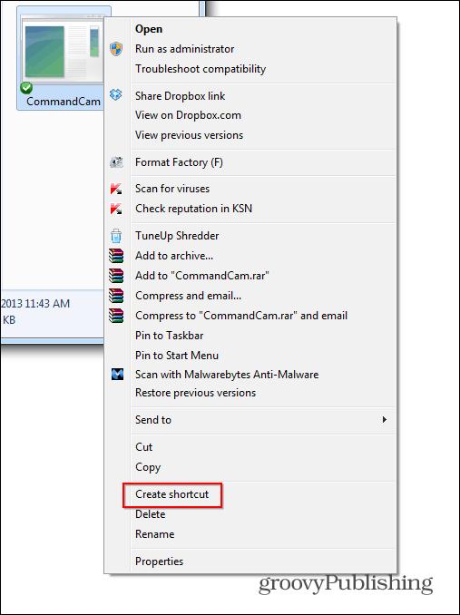 commandcam create shortcut