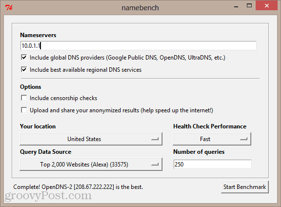 namebench GUI in windows 8