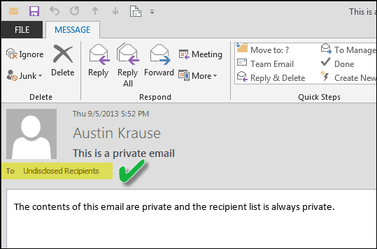 Make Outlook Appear to Send Emails to Undisclosed Recipients