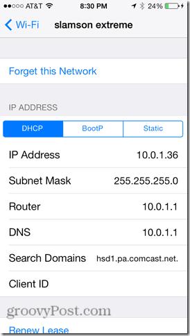iphone 5c wifi settings change