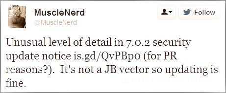 quote of MuscleNerd on iOS7.0.2 jailbreak status