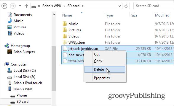 Delete XAP files