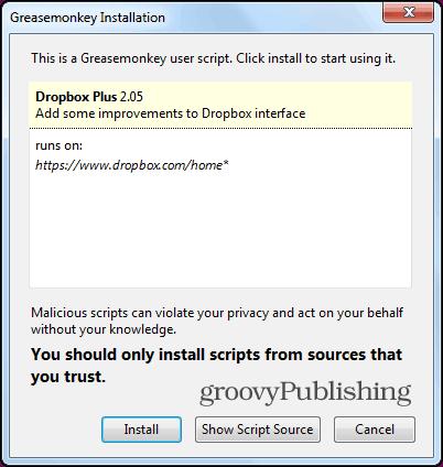 Dropbox tree structure Firefox install script