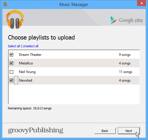 Playlists to Upload