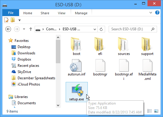 Setup executable flash drive
