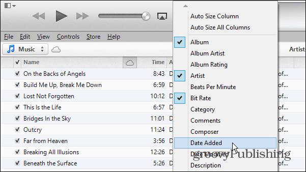 iTunes columns