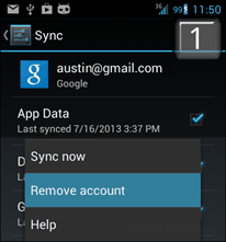 remove google account from android