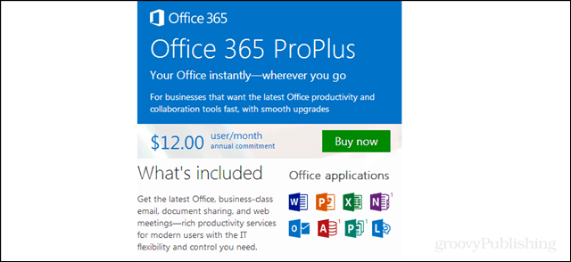 office 365 proplus pricing, included applications