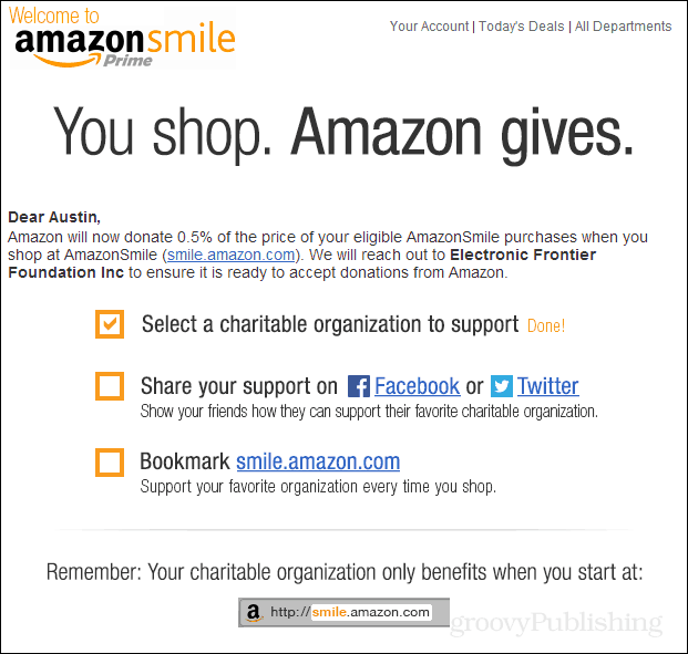 amazon smile email confirmation