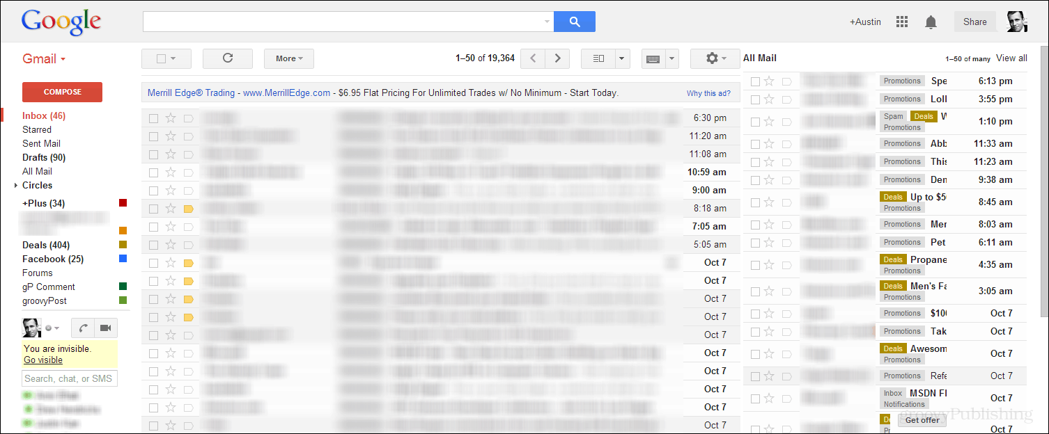 Gmail: How to Bring All Mail Along Side the Default Inbox