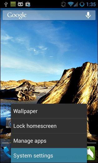 homescreen settings button