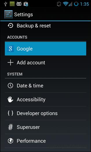 accounts > google