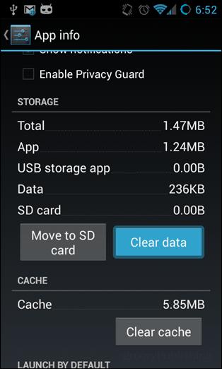 app info clear data