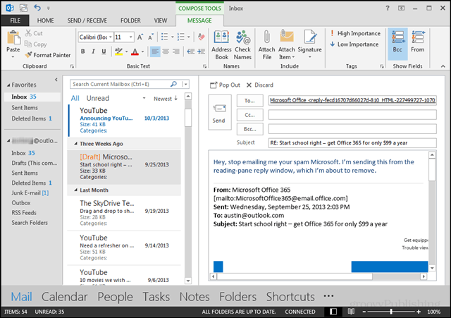 Outlook replies in the reading pane
