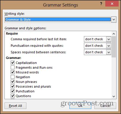 word 2013 configure grammar settings menu