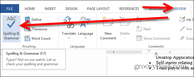 word 2013 spelling and grammar button