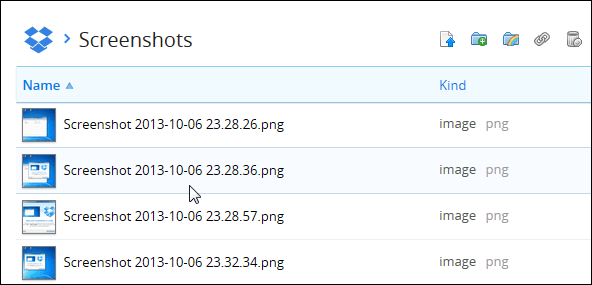 screenshots folder Dropbox