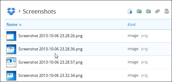screenshots folder Dropbox