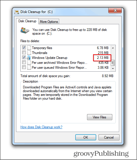 windows 7 update delete old files cleaned