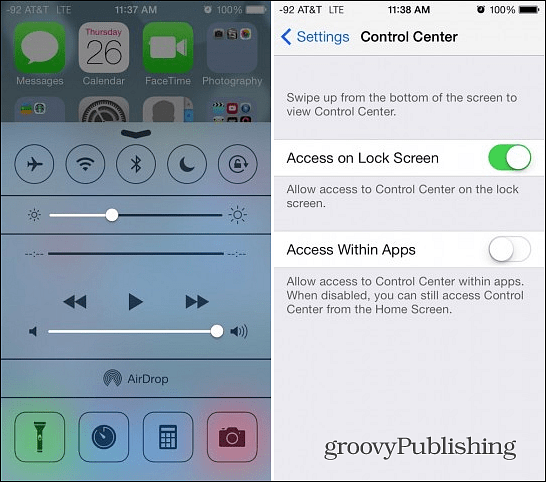 Disable Control Center in Apps