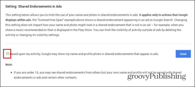 Google Shared Endosements disable