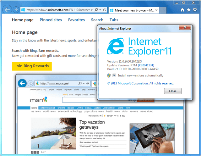 IE 11 Installed Windows 7