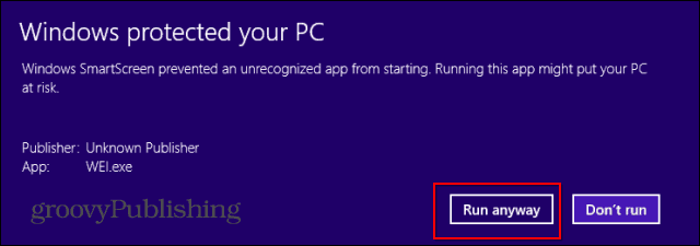 Windows Experience Index download warning run anyway