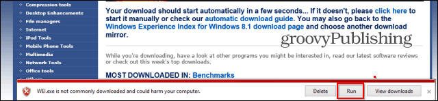 Windows Experience Index download warning