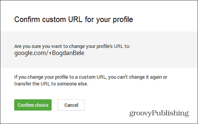 google custom url request confirm