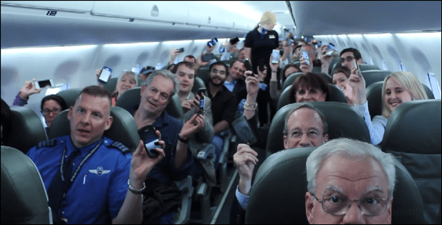 jetblue flight with cell phones on