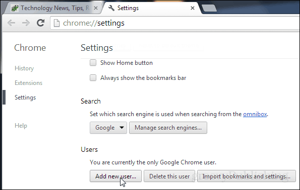 add a new user to chrome