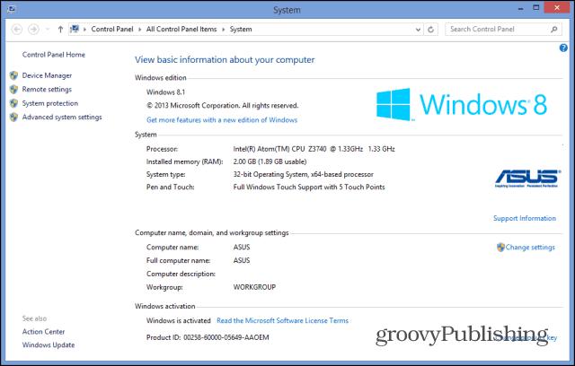 windows experience index 8.1