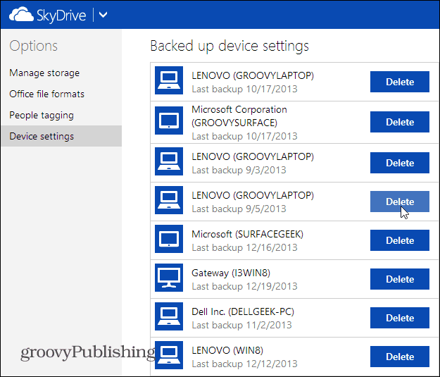 Backed Up Device Settings