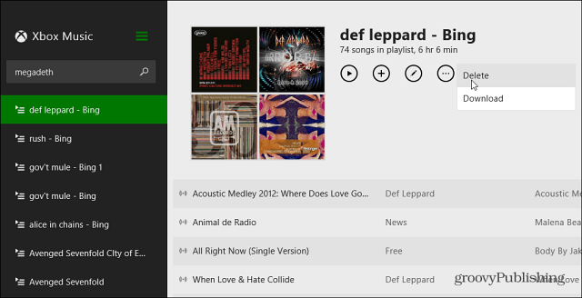 Delete Playlist Xbox Music