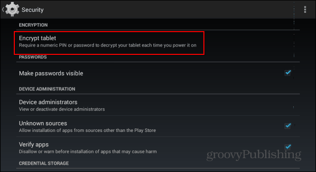 Encrypt Android Device settings encrypt