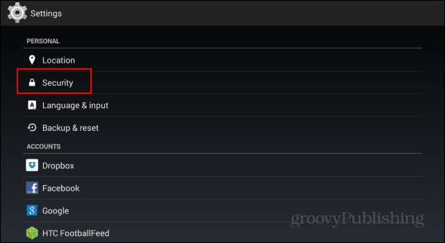 Encrypt Android Device settings personal