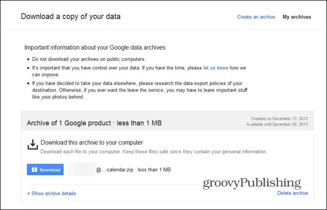 Google Takeout Google Calendar download