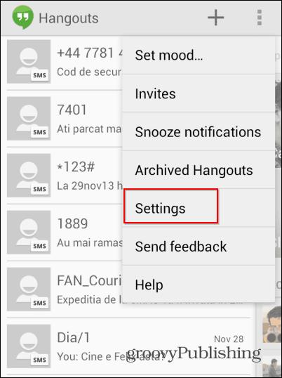 Hangouts SMS