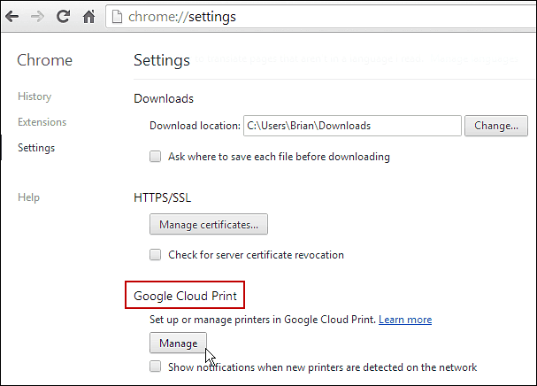 Manage Google Cloud Print