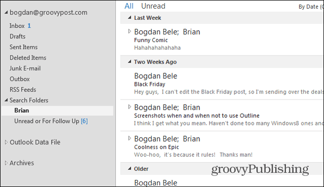 Outlook 2013 search folders Brian