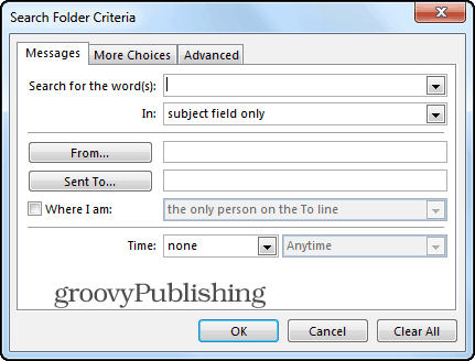 Outlook 2013 search folders custom criteria
