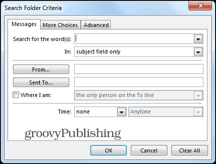 Outlook 2013 search folders custom criteria