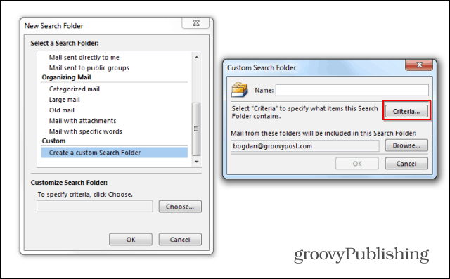 Outlook 2013 search folders custom