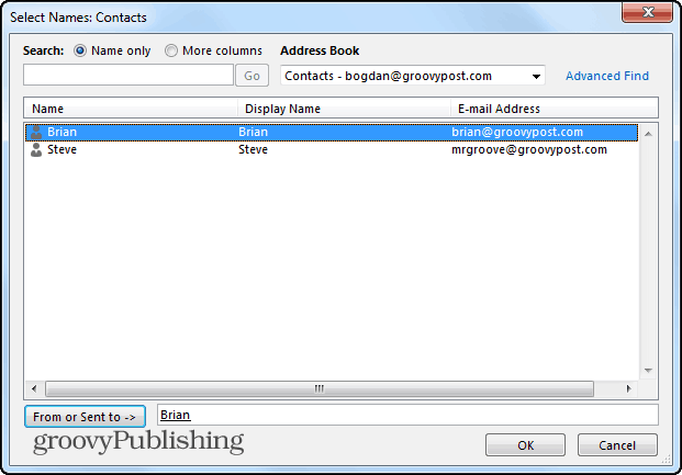 Outlook 2013 search folders from specific