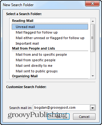 Outlook 2013 search folders new