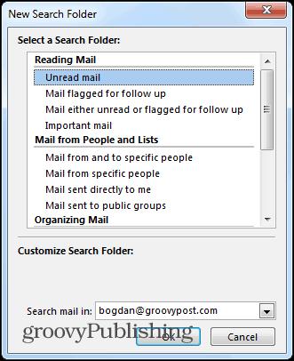 Outlook 2013 search folders new