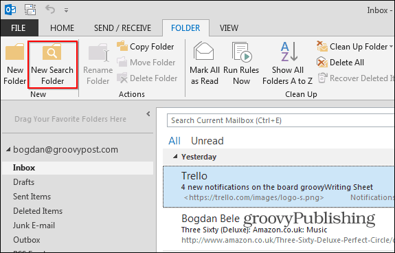 Outlook 2013 search folders